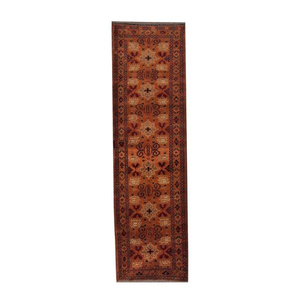 Handmade Herat Oriental Afghan Khal Mohammadi Orange/ Ivory Wool Rug (Afghanistan) - 2'8 x 9'3