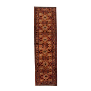 Herat Oriental Afghan Hand-knotted Khal Mohammadi Orange/ Ivory Wool Rug (2'8 x 9'3)