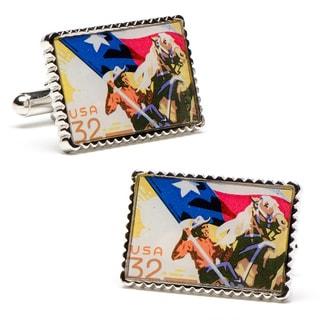 Silvertone Texas Heritage Statehood Stamp Cufflinks