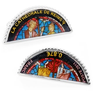 Silvertone Blue Cathedral De Reims Stained Glass Window Stamp Cufflinks