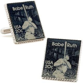 Silvertone Babe Ruth Stamp Cufflinks
