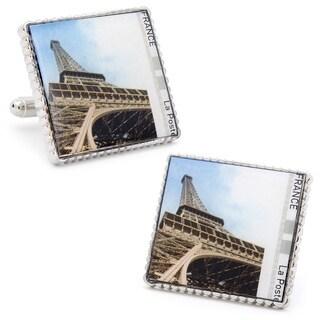 Silvertone Eiffel Tower Ground View Stamp Cufflinks