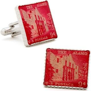 Silvertone Red Alamo Stamp Cufflinks