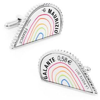 Silvertone Multi L'Amour Heart Stamp Cufflinks