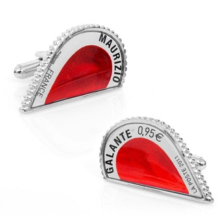 Silvertone Red L'Amour Heart Stamp Cufflinks