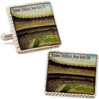 Silvertone NY Yankee Stadium Stamp Cufflinks
