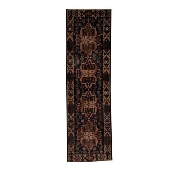 Herat Oriental Afghan Hand-knotted Tribal Balouchi Wool Runner (2'9 x 9'5)