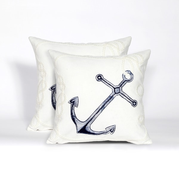 All Aboard Indoor/Outdoor 20-inch Throw Pillow (Set of 2)