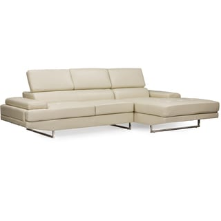Adler Contemporary Beige/Pearl Bonded Leather Right Facing Sectional Sofa