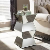 Sakina Contemporary Multi-Faceted Mirrored Side Table