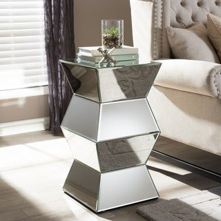 Sakina Contemporary Multi Faceted Mirrored Side Table