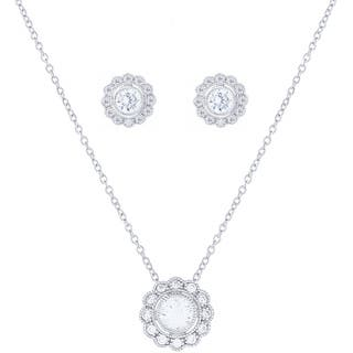 Blue Box Jewels Sterling Silver Cubic Zirconia Lace Button Stud Earrings and Necklace https://ak1.ostkcdn.com/images/products/10161416/P17290437.jpg?impolicy=medium