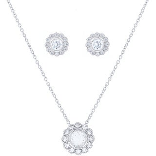 Blue Box Jewels Sterling Silver Cubic Zirconia Lace Button Stud Earrings and Necklace