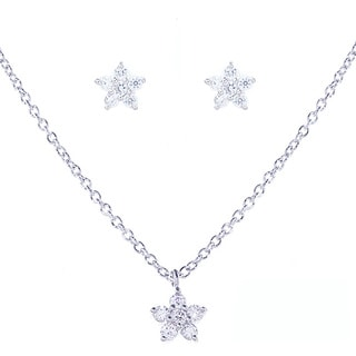 Blue Box Jewels Rhodium-plated Sterling Silver Cubic Zirconia Mini Flower Jewelry Set