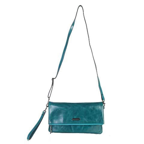 Diophy Mllecoco Genuine Leather Teal Signature Logo Crossbody - M