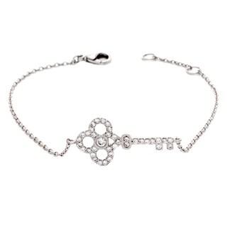 NEXTE Jewelry Silvertone Cubic Zirconia Embracing Key Bracelet