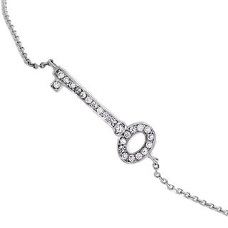 NEXTE Jewelry Silvertone Cubic Zirconia Encrusted Enchanted Key to Your Heart Bracelet