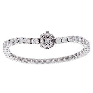 NEXTE Jewelry Silvertone Deep Set Cubic Zirconia Tennis Bracelet