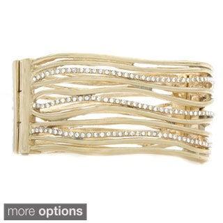 Nexte Jewelry Cubic Zirconia Encrusted Modern Wave Design Bangle Bracelet