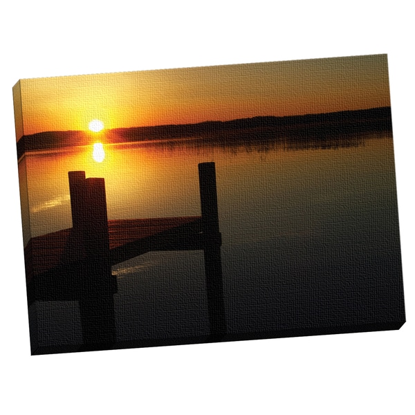 Portfolio Canvas Decor Ilona Wellmann 'Sunset Pier' Framed Canvas Wall Art