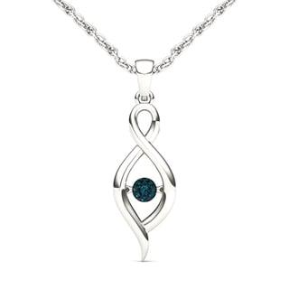 De Couer 10k White Gold 1/20ct TDW Diamond Heart Beat Necklace