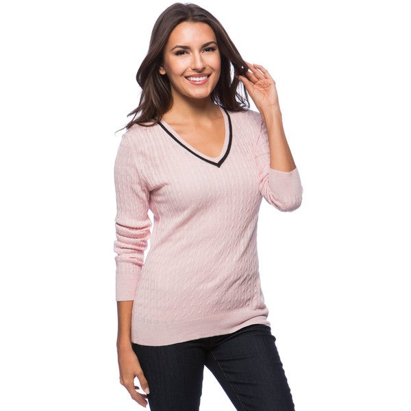 Dolores Piscotta Cable Vee Tennis Cashmere Sweater