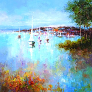 Portfolio Canvas Decor Van Matino 'Harbor Hues' Framed Canvas Wall Art