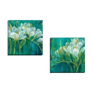 Portfolio Canvas Decor Carson 'Freesia Blues I' Framed Canvas Wall Art (Set of 2)