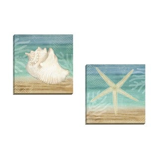 Portfolio Canvas Decor Beth Albert 'Aqua Starfish' Framed Canvas Wall Art (Set of 2)
