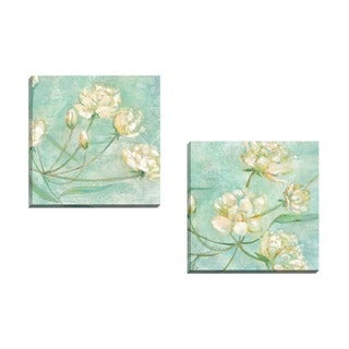 Portfolio Canvas Decor Elinor Luna 'Blossoms in Blue I' Framed Canvas Wall Art (Set of 2)