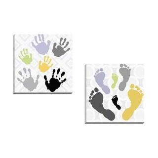 Portfolio Canvas Decor IHD Studio 'Footprints on Circles' Framed Canvas Wall Art (Set of 2)