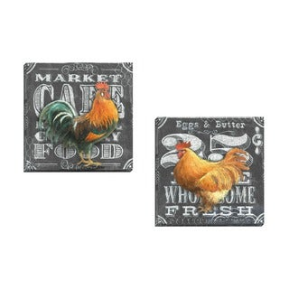 Portfolio Canvas Decor Geoff Allen 'Chalkboard Rooster 25 Cents' Framed Canvas Wall Art (Set of 2)