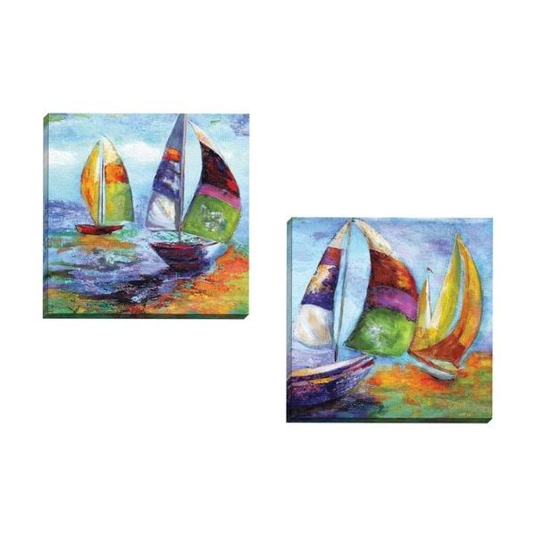 Portfolio Canvas Decor Sandy Doonan 'Sailing I' Framed Canvas Wall Art (Set of 2)