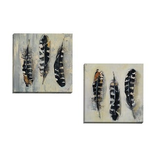 Portfolio Canvas Decor Zoe Maks 'Feathers I' Framed Canvas Wall Art (Set of 2)