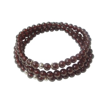Garnet Triple Strand Wrap Stretch Bracelet