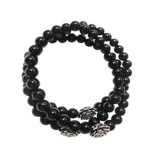 Black Onyx Triple Strand Wrap Stretch Bracelet