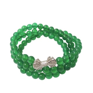 Green Agate Triple Strand Wrap Stretch Bracelet