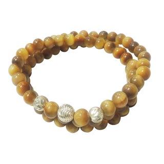 Golden Tiger Eye Triple Strand Wrap Stretch Bracelet