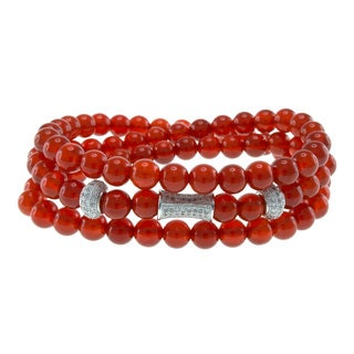Red Bead Triple Strand Wrap Stretch Bracelet Jewelry for Womens