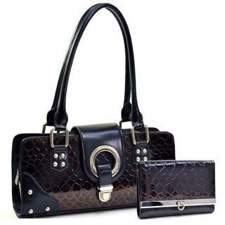 Dasein Patent Leatherette Snakeskin Shoulder Bag/Wallet Set
