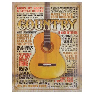 Vintage Metal Art 'Country Made in America' Decorative Tin Sign
