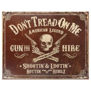Vintage Metal Art 'Don't Tread on Me Gun For Hire' Decorative Tin Sign