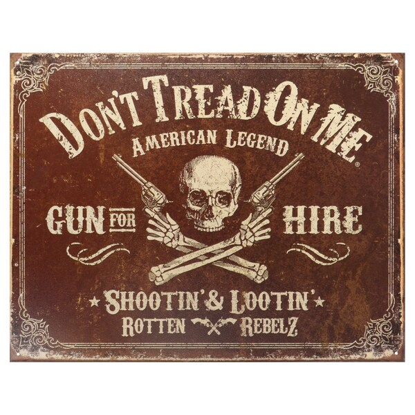 Vintage Metal Art 'Don't Tread on Me Gun For Hire' Decorative Tin Sign