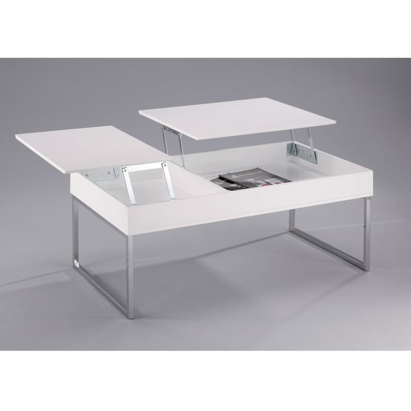 shop baxton studio celinda white lacquered wood coffee table with flipping tops storage. Black Bedroom Furniture Sets. Home Design Ideas