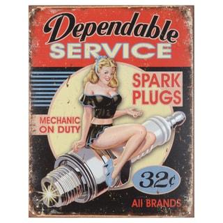 Vintage Metal Art 'Dependable Service' Decorative Tin Sign