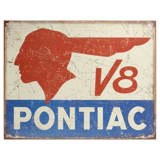Vintage Metal Art 'Pontiac V8' Decorative Tin Sign