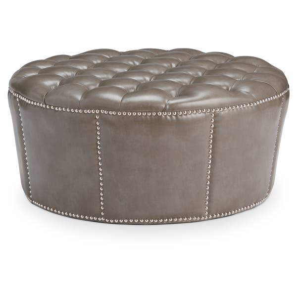 Abbyson Newport Grey Leather Nailhead Trim Round