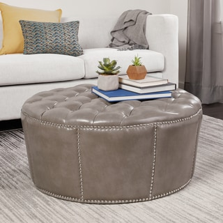 ABBYSON LIVING Newport Grey Leather Nailhead Trim Round Ottoman