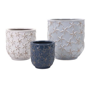 Starfish Earthenware Planters (Set of 3)