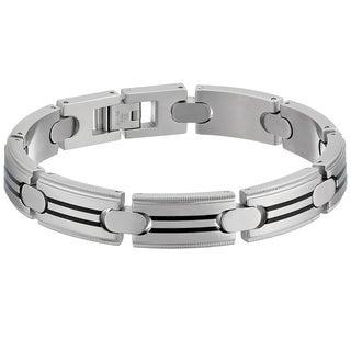 Stainless Steel Men's Black Resin Striped Link Bracelet